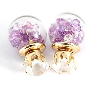 Awww Collection Crsytal Jewellery Two sided Ball shaped Earrings for Girls and Women