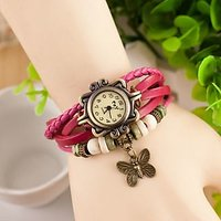 Round Dial Pink Leather Strap Womens Quartz Watch