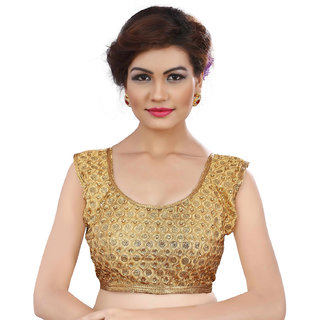 Ladies Flavour Latest New Designer Golden Embroidery Blouse