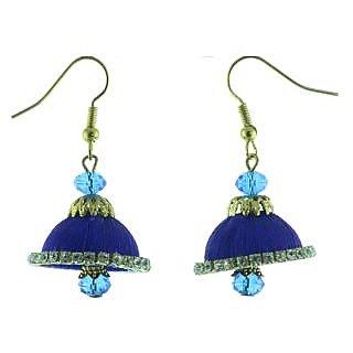 ayiruS Indigo Silk Thread Ear Rings (Fish Hook)