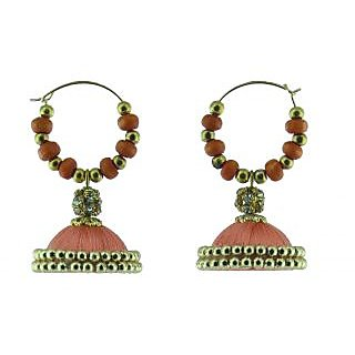 ayiruS Light Orange Silk Thread Ear Rings (Hoop)
