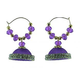 ayiruS Violet Silk Thread Ear Rings (Hoop)