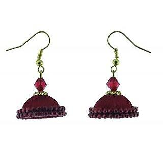 ayiruS Red Silk Thread Ear Rings (Fish Hook)