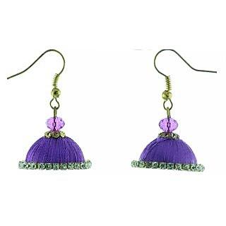 ayiruS Violet Silk Thread Ear Rings (Fish Hook)
