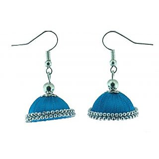 ayiruS Light Blue  Silver Silk Thread Ear Rings (Fish Hook)