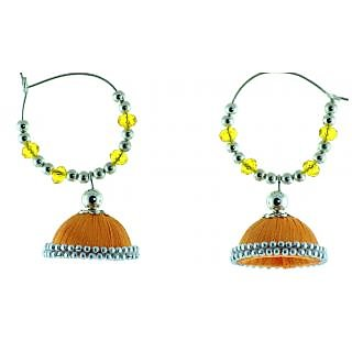 ayiruS Light Orange Silk Thread Ear Rings (Hoop)