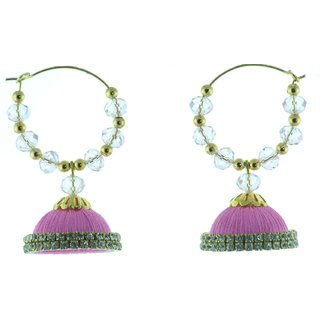ayiruS Light Pink Silk Thread Ear Rings (Hoop)