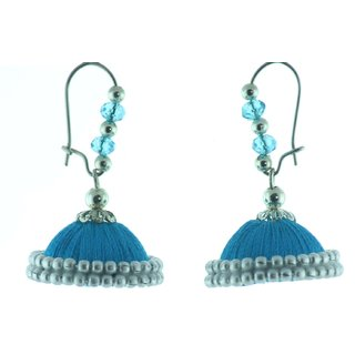 ayiruS Satin Blue Silk Thread Ear Rings (Lever Back)