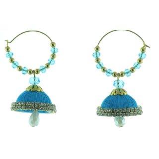 ayiruS Satin Blue Silk Thread Ear Rings (Hoop)