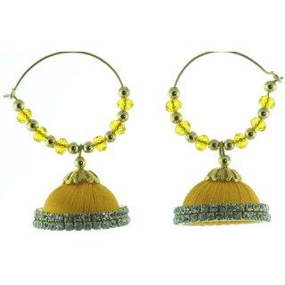 ayiruS Yellow Silk Thread Ear Rings (Hoop)