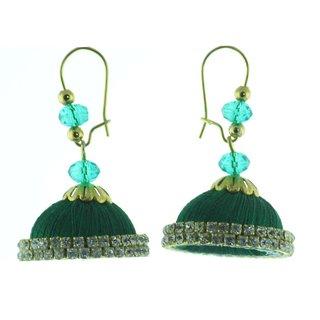 ayiruS Dark Green Silk Thread Ear Rings (Lever Back)