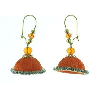 ayiruS Orange Silk Thread Ear Rings (Lever Back)