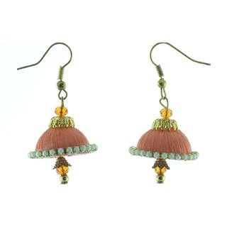 ayiruS Cream Orange Silk Thread Ear Rings (Fish Hook)
