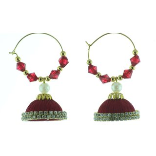 ayiruS Magenta Silk Thread Ear Rings (Hoop)