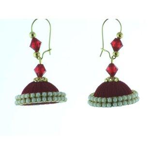 ayiruS Magenta Silk Thread Ear Rings (Lever Back)