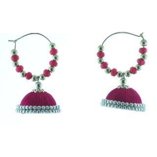 ayiruS Deep Pink Silk Thread Ear Rings (Hoop)