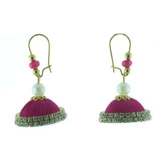 ayiruS Pink Silk Thread Ear Rings (Lever Back)
