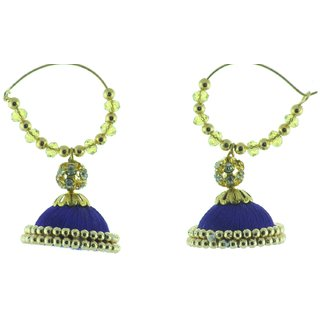ayiruS Dark Blue Silk Thread Ear Rings (Hoop)