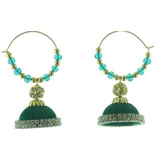 ayiruS Dark Green Silk Thread Ear Rings (Hoop)