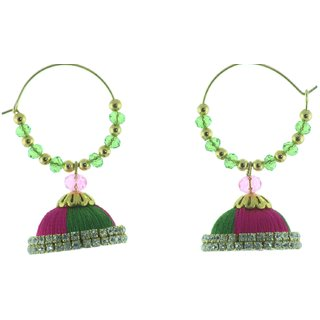 ayiruS Green  Pink Thread Ear Rings (Hoop)