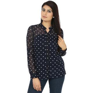 Coash nevy blue Polka dot chiffon women shirt