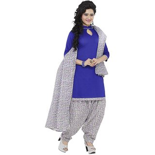 Minu Suits Cotton Unstiched Dress Material New Blue