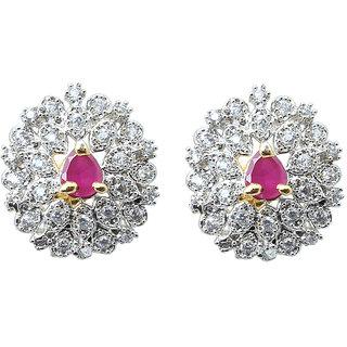 Waama Jewels Multi Cubic Zirconia Studs Earring for women and girl Festive Earring Gift For Wife