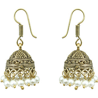 Waama Jewels white pearl Jhumki Earring for womens Office Wear Earring boho jewelry