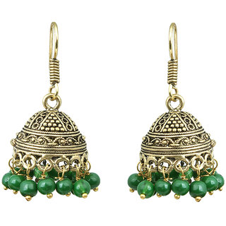 Waama Jewels Green pearl Jhumki Earring Wedding Golden Oxidised Special Collection Fashion Earring Official Jewellery