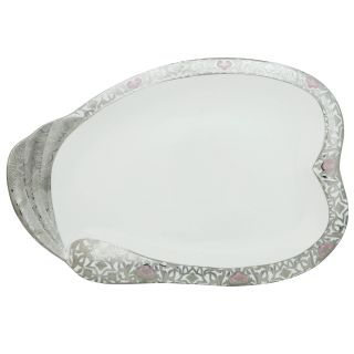 Addox Designed white plate cum serving tray with silver polish