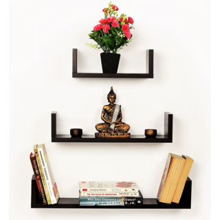 Smart Dcor Floating Wall Shelf  Set of 3 U Shape MDF Wall Racks  Brown