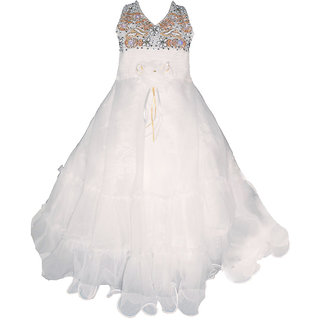 Brisa Embellished and Embroidered Royale Fit and Flare White Sleeveless Floor length Disney Princess Inspired Tulle and Lace Ball Gown