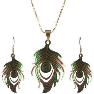 Rejewel 22K Gold Plated Delicate Filigiri Metal Pendant RedGreen Color For Women