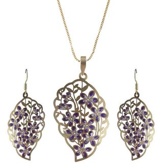 Rejewel 22K Gold Plated Delicate Filigiri Metal Pendant Purple Color For Women