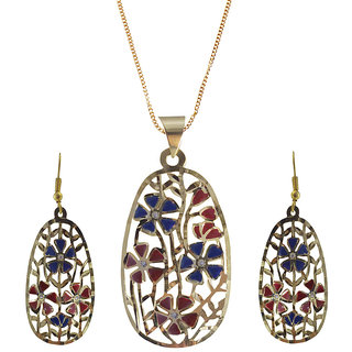 Rejewel 22K Gold Plated Delicate Filigiri Metal Pendant RedBlue Color For Women