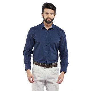 Poplin Navy Blue  Uomo Ricco Mens Shirting  M