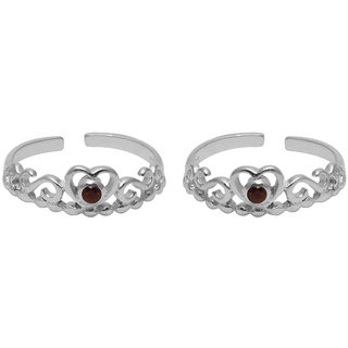 Abhooshan Beautiful Cubic Zirconia Toe Rings in 92.5 Sterling Silver