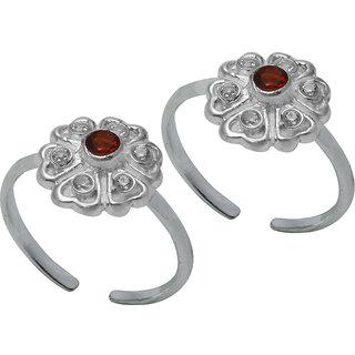 Abhooshan Beautiful pair of Cubic Zirconia Toe Rings in 92.5 Sterling Silver