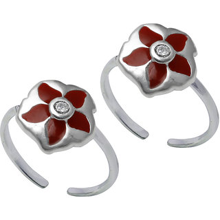 Abhooshan Designer Red Enamel and Cubic Zirconia Toe Rings in 92.5 Sterling Silver