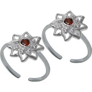 Abhooshan Unique pair Cubic Zirconia Toe Rings in 92.5 Sterling Silver