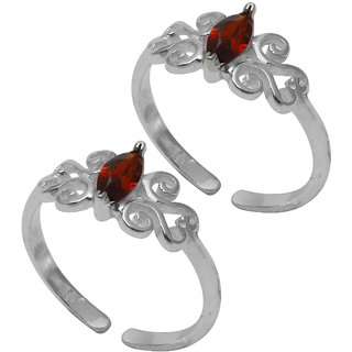 Abhooshan Stylish pair of Cubic Zirconia Toe Rings in 92.5 Sterling Silver