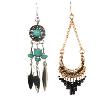 Jazz Jewellery Combo Earrings Set Gold Silver Plated Black and Green Stone Color