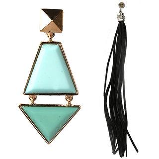 Jazz Jewellery Hoop or Huggies Gold Plated Light Green Stone Oval Diamond Ear Thread Combo Earrings Set