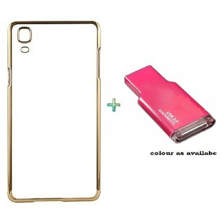 Meephone Back Cover  For SAMSUNG J1 (Transparent  GOLDEN) With Memory Card Reader