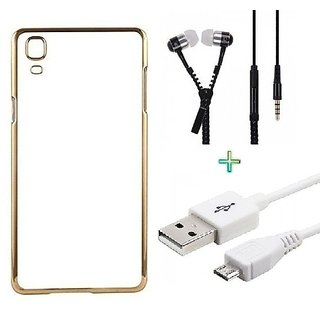 Meephone Back Cover  For SAMSUNG S7 (Transparent  GOLDEN) With Zipper Earphone  USB CABLE