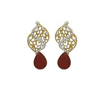 La Trendz Royal Touch With Ruby Stone Earring For Girls And Women