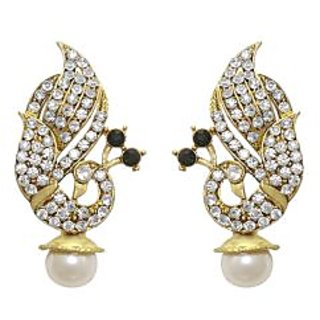 La Trendz Designer White Peacock Earring For Girls And Women