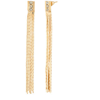 Jazz Jewellery Gold Plated Long Chain and Diamond Studded Earrings