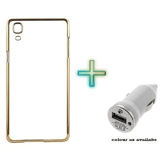 Meephone Back Cover  For REDMI MI4I (Transparent  GOLDEN) With Car Charger Adapter