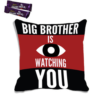 meSleep Big Brother Raksha Bandhan Cushion Cover (With Filling - 16x16 Inches)  With Chocolates